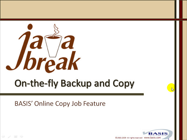 Java Break - On-the-fly Backup and Copy